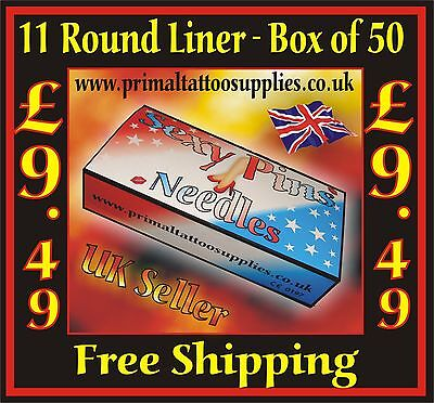 Tattoo Needles 11 Round Liner box 50 - (Tattoo Supplies - NO Disposable Tips)