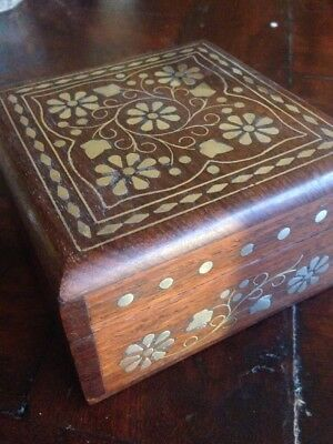 Vintage Wooden Jewellery Box With Inlaid With Brass. Hinged