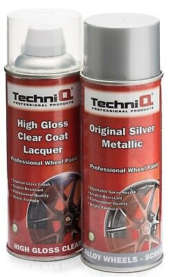 Alloy Wheel Paint Silver Metallic and High Gloss Clear Lacquer 400ml Cans x 2