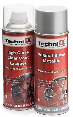 TechniQ Alloy Wheel Paint Spray Silver + High Gloss Clear Lacquer 2 x 400ml Cans