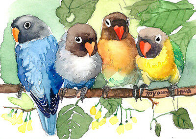 """ACEO 2.5""""x3.5""""-Our happy hours, WATERCOLOR LOVEBIRD ART PRINT, COLLECTIBLE ART"""