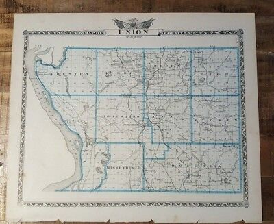 Antique Map - UNION COUNTY Illinois - Warner & Beers/Union Atlas Co. 1876