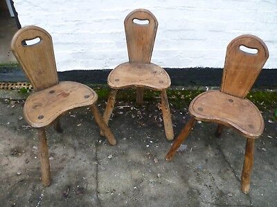 Set Of Three Antique French, Rustic Oak, Three Legged Bar Chairs. Oak Bar Stools