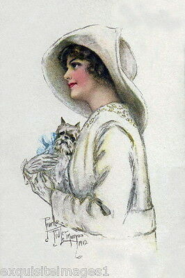 1912 Art~ Brussels Griffon Puppy Dog & Glamour Woman ~NEW Large Note Cards