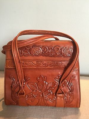 Vintage Made in Mexico Mexico Brown Tooled Leather Handbag