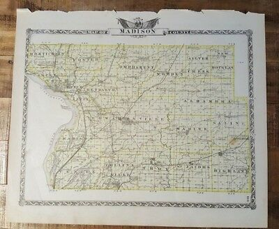 Antique Map - MADISON COUNTY Illinois - Warner & Beers/Union Atlas Co. 1876