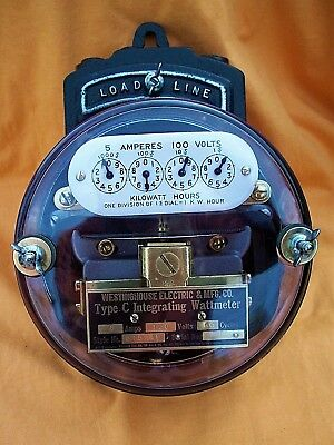 """Westinghouse Type """"C"""" Integrating Meter, Restored, 5amp, 100 volts, Circa 1917"""