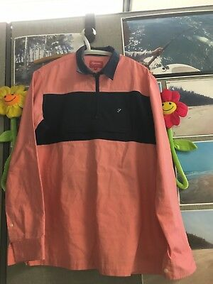 supreme stripe pink peach 1/4 zip pullover polo light rugby ls 100 % cotton med.
