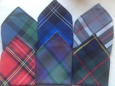 *NEW* Gents Mens Tartan Pocket Square Handkerchief Hankie - Various Tartans
