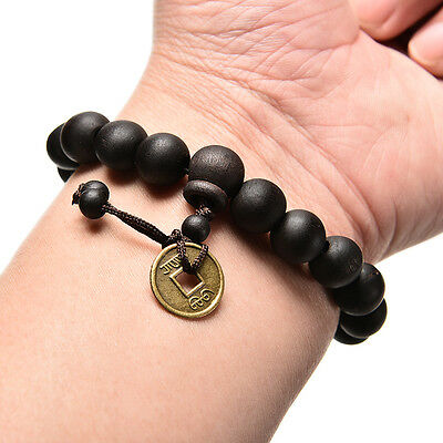 Wood Buddha Buddhist Prayer Beads Tibet Bracelet Mala Bangle Wrist Ornament HK