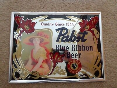 Vintage Pabst Blue Ribbon Beer 1844 Girl Bar Mirror 12x9 Rare PBR Beer Girl Sign