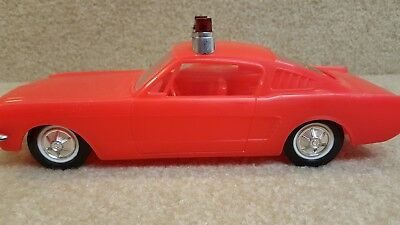 Rare Vintage 1965 Ford Mustang Fastback Fire Department Plastic Toy Car Red