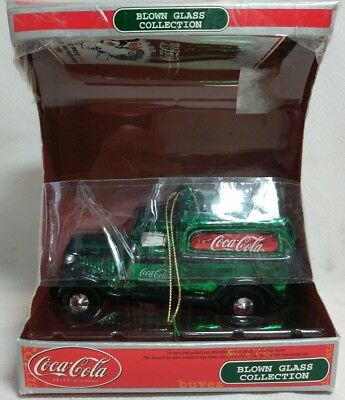 Coca Cola Blown Glass Collection Keepsake Ornament Green Truck