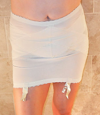 Beyond Rare!!! Sari Ivory Open Bottom Rubber Girdle With Garters L Xl Evc