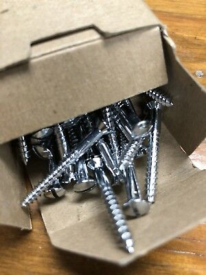 "100 qty. Chrome Plated Brass Wood Screws~#6 x 1-1/2"" Slotted OH~Century Boat"
