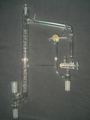 """Chemglass 10/30 & 24/40 Joints Jacketed Vigreux Vacuum Distilling Head (21.5"""" H)"""