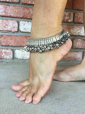 Vintage Antique Silver Anklet Ankle Bracelet Tribal Old Belly Dance Chimes Screw