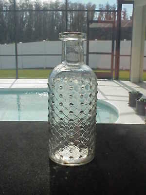 Clear Embossed Crossed Hatched Cylindrical Poison Bottle
