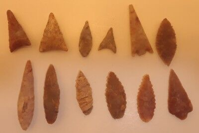 12 African Neolithic Stone Projectile Points Arrowhead Lot Sahara Desert Africa
