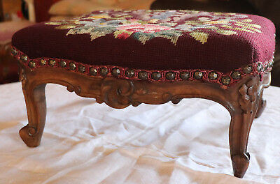 "Antique Carved Wood Foot Stool Needle Point Top 14""x11.5 ""x7""tall"