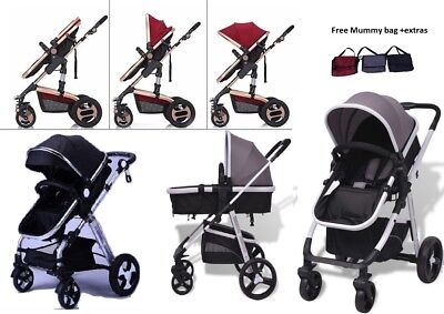 3in1-Combi-Stroller Travel System Baby Pram Pushchair & Cover Aluminium 3 Color