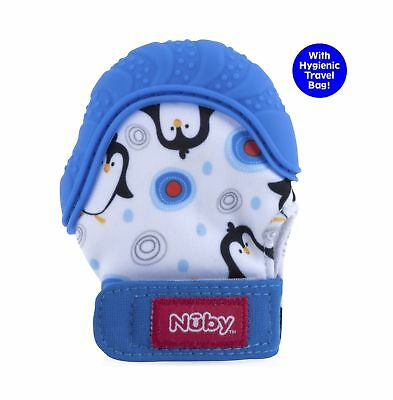 Nuby  Soothing Teething Mitten with Hygienic Travel Bag, Blue Pengu... 2DAY SHIP