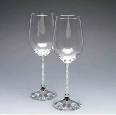 Wine Glasses Made With Swarovski Crystals In Stem Red White Wine valentines gift