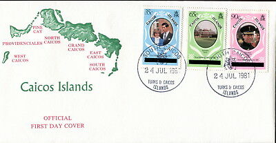 1981 Turks & Caicos Type 3 ovpt. Royal Wedding Charles & Diana. First Day Cover