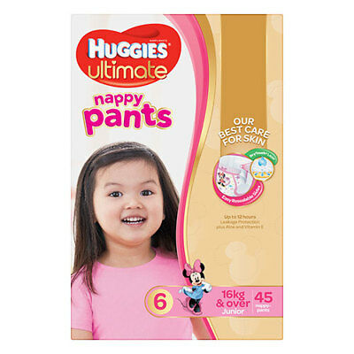NEW Huggies Ultimate Nappy Pants Junior for Girls - 45 Pack