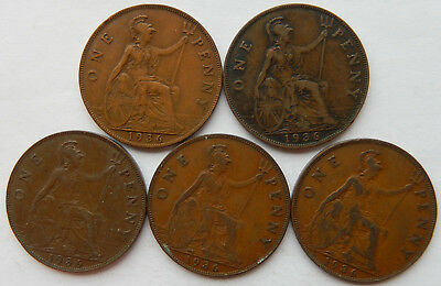 "1936 UK / Great Britain One Penny Coin  KM#838 ""Lot of 5 Coins"" SB5161"
