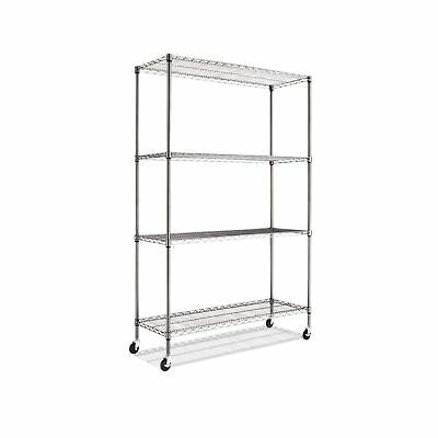 Alera ALESW604818BA Complete Wire Shelving Unit w/Caster, Four-Shel... 2DAY SHIP