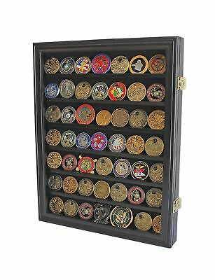 Lockable Military Challenge Coin Casino Chip Display Case Cabinet R... 2DAY SHIP