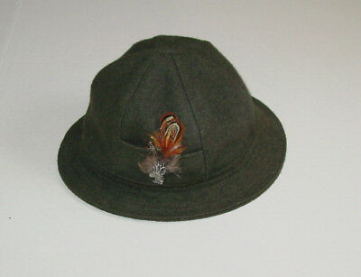 Bavarian Hat - Child's wool loden green with Chamois hat pin.