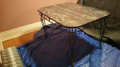 Vintage Mid Century Retro Kitchen Table Wrought Iron Base, Marble Formica Top