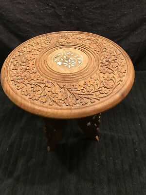 """Antique Wood Carved Mini Table Made In India 13"""""""