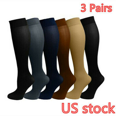 (3 Pairs) Compression Socks Stockings Graduated Support Men's Women's (S-XL)