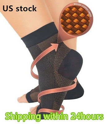 Copper Compression Foot Sleeve Plantar Fasciitis Angel Ankle Pain Socks (S~XL)
