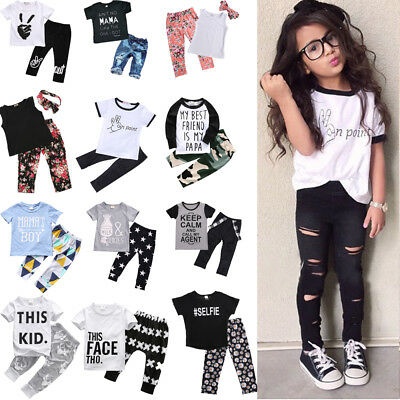 Toddler Kids Boy Girls T-shirt Tops+Long Pants 2Pcs Outfits Babysuit Clothes Set