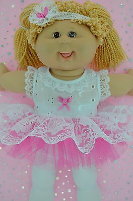 """PlaynWear Doll Clothes For 16""""Cabbage Patch  HOT PINK LACE TU TU~TIGHTS~HEADBAND"""