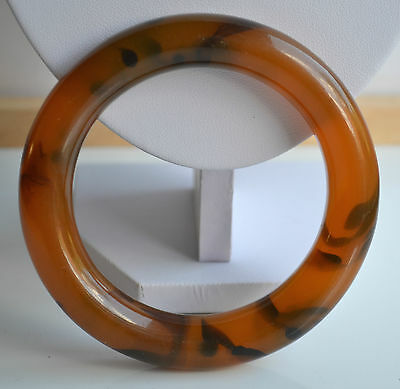 Vintage Swirl Faux Tortoise Shell Apple Juice Plastic Resin Bangle Bracelet