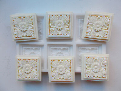 Silicone Rubber Mould Six Square Flower Corner Blocks Decorative Mouldings