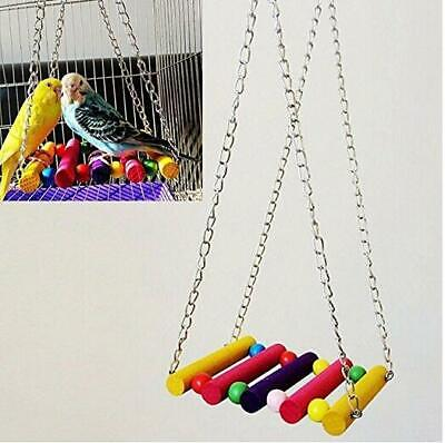Lovely Parrot Parakeet Bird Cage Budgie Hammock Swing Hanging Playing Toys