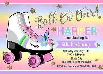 ROLLER SKATE INVITATION Unicorn Birthday Party Invite Rollerskate Rainbow