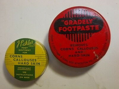 2 Old Chemist Ointment Foot Paste Tins with Contents. G/VG