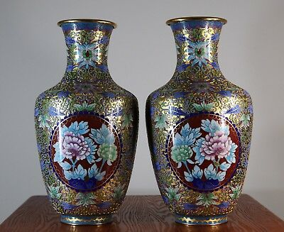 A pair of vintage Chinese gold gilt cloisonné vases