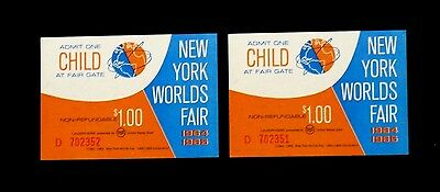 1964/1965 NYWF Set Of Two (2) Child's Tickets
