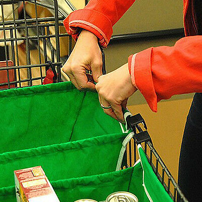 Shopping Bags Foldable Reusable Clip-To-Cart Supermarket Grocery Trolley NEW