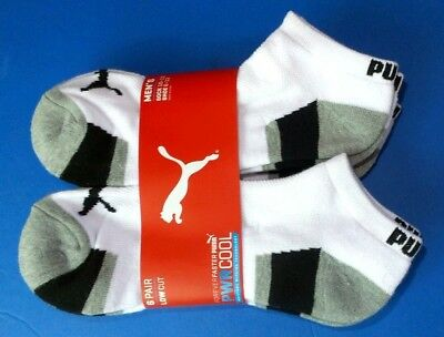 Puma Men's Low Cut Socks 6 Pack Large 10-13 White Black Sport Athletic New
