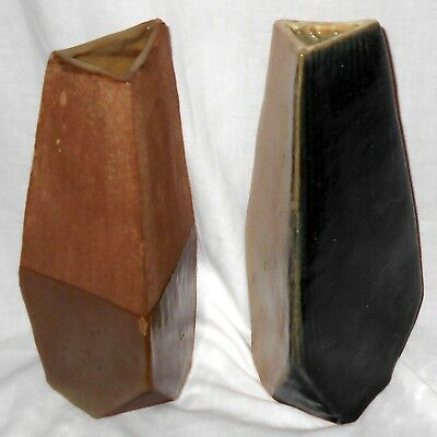 """Pair of Vintage 9"""" Faceted Vases Signed Handcrafted Studio Pottery"""