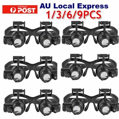 10X 20X 25X LED Glasses Jeweler Magnifier Watch Repair Magnifying Loupe JH